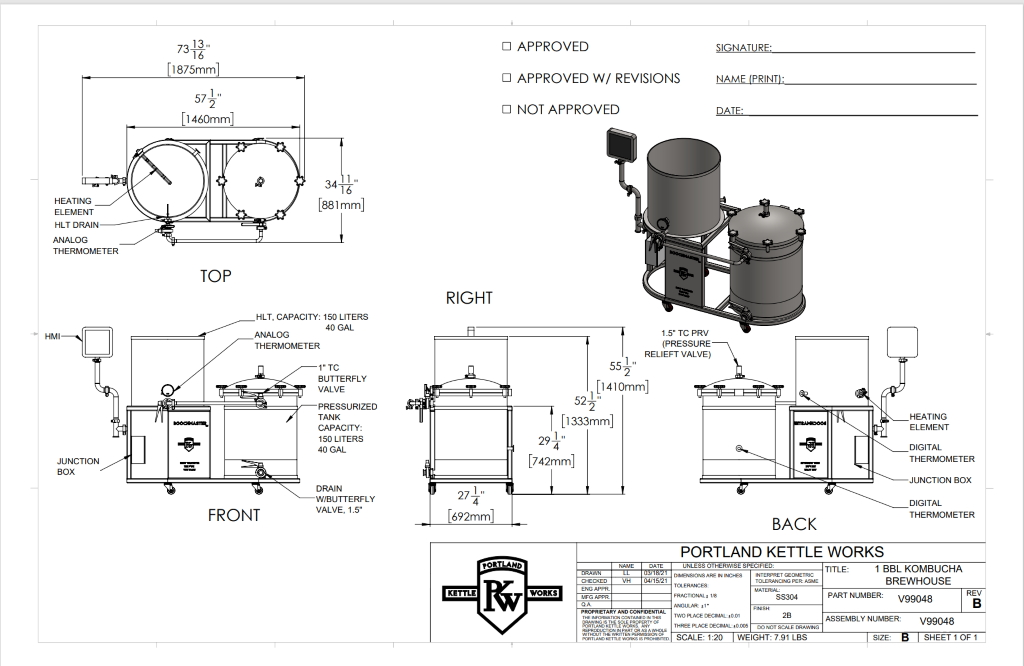 KB-135 Kombucha Production System Schematic